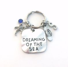 Dreaming of the Sea Key Chain, Starfish & Flip Flop Keychain, Beach Theme Gift for Daughter Keyring, Sea Creature, Marine Animal Wedding by aJoyfulSurprise on Etsy Silver Quotes, Sea Theme, Key Chains, Beach Themes, Sea Creatures, Maid Of Honor, Starfish, Antique Silver, Daughter