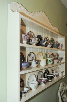 tea cup shelf collectors edition by woodcraftqueen on Etsy Tea Cup Display, Wooden Shelves, Pallet Shelving, Displaying Collections, Display Shelves, Display Boards, Home Organization, Armoire, Tea Pots