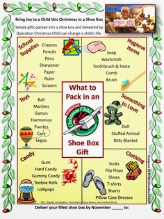 to Pack in an Operation Christmas Child Shoe Box Poster Simply Shoe Boxes: What to Pack in an Operation Christmas Child Shoe .Simply Shoe Boxes: What to Pack in an Operation Christmas Child Shoe . Christmas Child Shoebox Ideas, Operation Christmas Child Shoebox, Kids Christmas, Christmas Crafts, Christmas Boxes, Christmas Poster, Office Christmas, Christmas Activities, Christmas Decorations