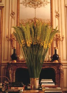 Hubert de Givenchy - the Paris town house - a tall bouquet of eremurus