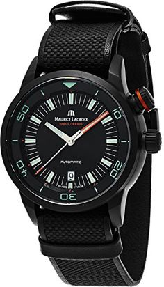 cool Maurice Lacroix Pontos S Diver Chronograph Mens Watches - 43mm Black Dial Black Leather Band Swiss Automatic Dive Watch For Men PT6248-PVB013-332-2