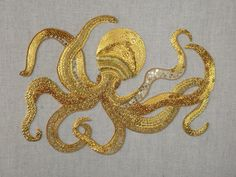 This octopus was inspired by the stone carvings that you find at the Natural History Museum in London. It was worked using basic Goldwork techniques at the Royal School of Needlework, Hampton Cour… Japanese Embroidery, Gold Embroidery, Modern Embroidery, Hand Embroidery Patterns, Cross Stitch Embroidery, Embroidery Designs, Jacobean Embroidery, Gold Work, Embroidery Techniques