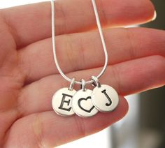 Two Initial Necklace, Couples Necklace, Two Letter Disc Necklace, Personalized Letter Necklace, Two Initials Heart Necklace, Silver Letters
