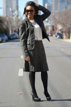 Preppy | Pleated skirt suit | Boucle skirt suit | Skirt and jacket suit