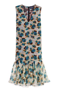 Acid Floral Print Organza Ruffle Dress by Peter Som for Preorder on Moda Operandi