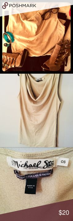 Maternity Michael Stars Gold Draped Neckline! Super cute and comfy Michael Stars gold sleeveless career top.  Tags says one size fits all - fits like a medium.  Gently used, very versatile - dress up or down.  Shop the look!  Pants & shoes also for sale - happy to bundle for a discount. Michael Stars Tops Tank Tops