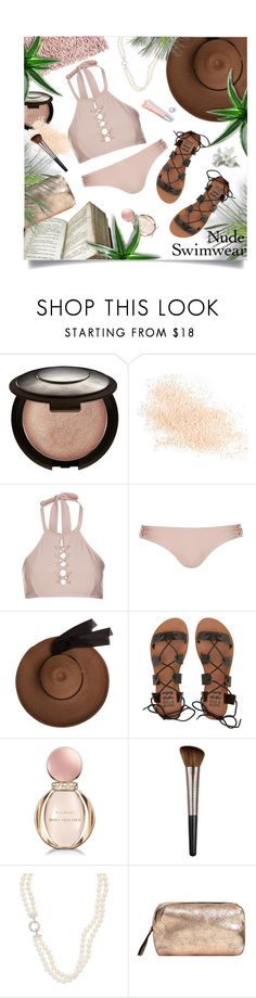 """Nude Swimwear"" by lenochca ❤ liked on Polyvore featuring Becca, Eve Lom, Topshop, Whistle & Wolf, Billabong, Bulgari, Urban Decay, MANGO, Aquanova and nudeswimwear"