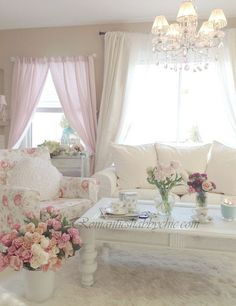 My Shabby Chic Home ~ What caught my eye is the 2 different curtains in the same room.  Interesting.