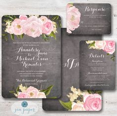 Chalkboard Peony & Rose Floral Wedding Invitation: Rustic Romantic Flowers and Pink Calligraphy Invite Suite - Shabby Chic Printable DiY