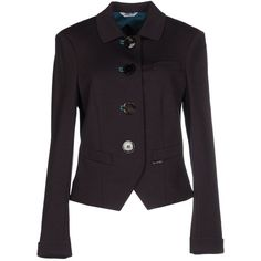 Ajay Blazer (€100) ❤ liked on Polyvore featuring outerwear, jackets, blazers, dark brown, blazer jacket, long sleeve jacket, logo jackets, jersey blazer and single breasted jacket