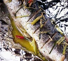 Baked sea bass with lemongrass & ginger - simple tasty recipe - I did it with honey roasted fennel and egg noodles with spring onions and home made sweet chili sauce :) nom.