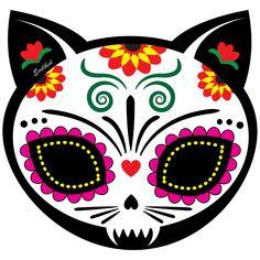 Gato Muerto cat sugar skull for Dia de los Muertos http://www.cafepress.com/evilkid/10523562