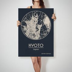 KYOTO Japan map City Street Map Art Print Poster by ArchTravel