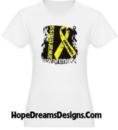 Ewing Sarcoma awareness shirts with a cool grunge design and yellow ribbon by www.hopedreamsdesigns.com