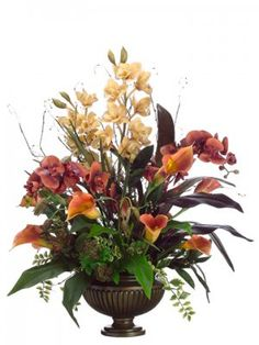"Cymbidium-Phalaenopsis- Calla Lily Large Silk Flower Arrangement. 31""Cymbidium/Phalaenopsis/Calla Lilly/Berry mix in urn Honey Brown."