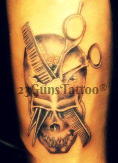 Skull Tattoo- 23GunsTattoo Skull Tattoo With Sisser and Comb