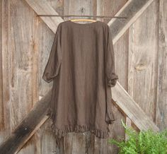 linen tunic dress money bag pocket in chocolate brown ready to