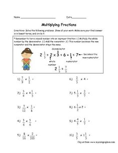The students will multiply the following: - Fractions multiplied  by fractions- Fractions multiplied by whole numbers- Fractions multiplied by mixed numbers Answer key is included.