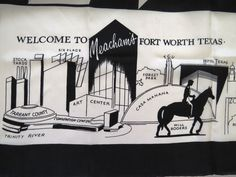 Vintage Fort Worth Texas Souvenir Scarf Black White Large Meachams Landmarks   #Unbranded