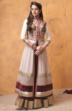 Appealing Off White and Burgundy Lehenga Kameez Set
