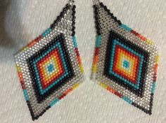 Exclusive-Fire-n-Ice-Silver-Boho-Native-diamond-3-1-2in-delica-beaded-earrings