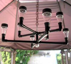 Items similar to Outdoor lighting, solar chandelier. Contemporary solar outdoor chandelier for backyard, patio, gazebo, garden or deck. on Etsy Pvc Pipe Crafts, Pvc Pipe Projects, Outdoor Projects, Welding Projects, Solar Chandelier, Outdoor Chandelier, Outdoor Lighting, Lighting Ideas, Accent Lighting
