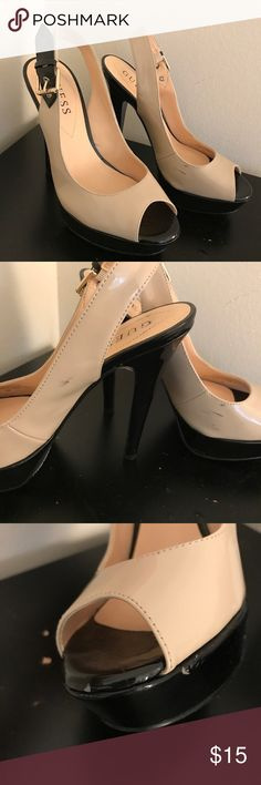 Beige / black heels - from GUESS I bought these from TJ Maxx for $40. Worn a few times. Has the non slip stickers on the bottom. A few scuff marks as pictured. Otherwise pretty much Like-New. Straps are adjustable. Very comfortable to me. Size 6. Normal width. --- NO PETS, CLEAN HOME!! Accepting offers. Guess Shoes Heels