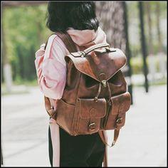 Retro Large Two Pockets PU Leisure Student Bag School Backpack #bag #backpack #school #retro #pocket #bag