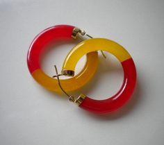 Vintage Orange Jade Earrings 14kt Hoops by eclecticappealjewels, $175.00