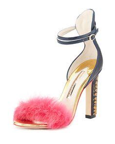 Sophia Webster Nicole Ostrich & Rabbit Fur Sandal, Hot Pink