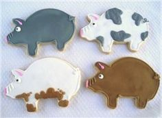 Your farm party will be complete with these delicious pig party favors cookies. Farm Cookies, Biscotti Cookies, Edible Cookies, Galletas Cookies, Iced Cookies, Cut Out Cookies, Cute Cookies, Cupcake Cookies, Cookies Et Biscuits