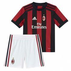 02070b42 AC Milan Hjemme Draktsett Fotball Barn 17-18 Kortermet
