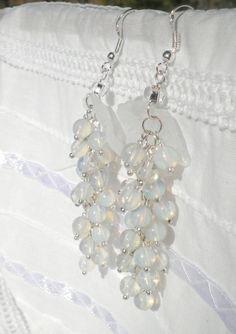 White Opal Silver Earrings from juta ehted - my jewelry shop by DaWanda.com