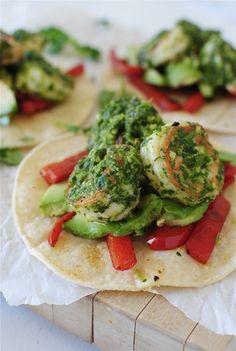 Cilantro Pesto Shrimp Tostadas / Bev Cooks