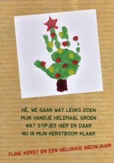 Kerstmarkt - kerstkaart kind handafdruk    zelfmaak ideeën basisschool groep 1 2 3 4 5 6 7 8