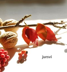 Fall Leaf Earrings  Red Gold Textured Earrings by Pysar on Etsy, $23.00