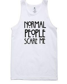 Tank top normal people scare me shirt american horror story logo printed for Tank top Mens, Tank top Ladies, Funny Tank top