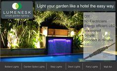 Lumenesk LED strip lighting - create a feature around a pool Lighting Your Garden, Home Lighting, Light Wall Art, Bollard Lighting, Lighting Solutions, Led Strip, Strip Lighting, Fairy Lights, House Styles