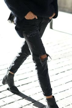sneakers and pearls,street style, black ripped boyfriend jeans, winter, always trending.jpg