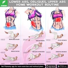 Lower abs, obliques and upper abs home workout! Abs And Obliques Workout, Oblique Workout, Abs Workout Video, Abs Workout For Women, Ab Workout At Home, At Home Workouts, Lower Abdominal Workout, Oblique Exercises, Home Exercise Routines