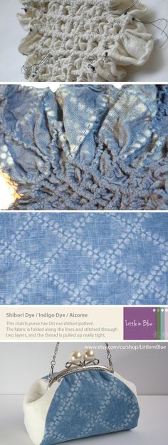 Shibori - This clutch purse has Ori-nui shibori pattern. The fabric is folded along the lines and stitched through two layers, and the thread is pulled up really tight. (Little m Blue)