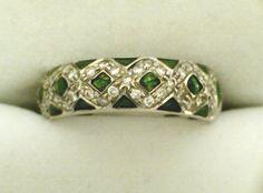 """Green Enamel W/Diamond """"X""""s Hidalgo Ring"""