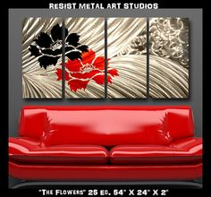 Modern Abstract Metal Wall Art Sculpture Red by ResistThemMetalArt, $189.00