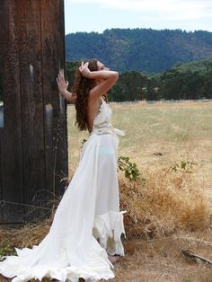 "custom upcycled romantic hippie eco bohemian womens  wedding dress ""flashback romance """