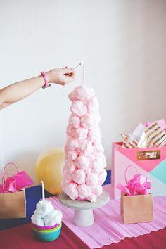 Cotton candy birthday cake