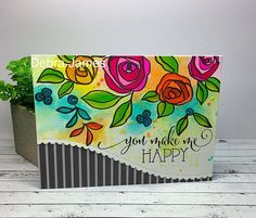 Debra James:  Altenew Bamboo Rose Stamp Set; Honeybee Stamps (sentiment)