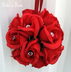 Wedding flower balls red flower girl pomander, rose kissing ball bouquet wedding decorations. $20.00, via Etsy.