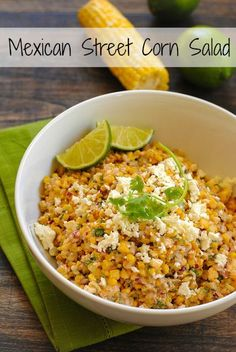 Roasted Mexican Street Corn Salad - A crunchy and spicy salad with just a bit of creaminess. Can be served warm or cold.