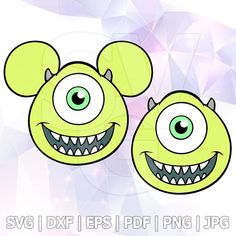98ffd583539 Mike Wazowski Monsters INC SVG DXF Eps Pdf Vector Cut Files Cricut Cameo  Silhouette Mickey Design Cards Disney Pictures Birthday Party