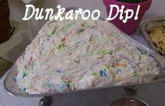 1 box funfetti cake mix (DO NOT add the ingredients that you usually would to actually make the cake - you need just the mix) 2 cups plain yogurt 1/2 container of cool whip. Serve with animal crackers or graham crackers